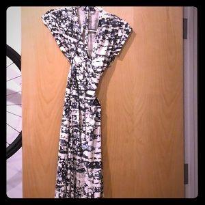 Black and white print dvf wrap dress